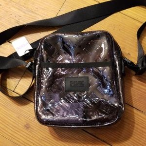 Pink Victoria's Secret clear black crossbody